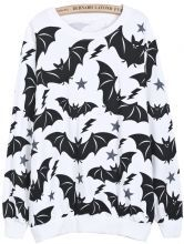 White Long Sleeve Bat Print Loose Sweatshirt US$25.17