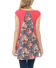 This Coral Floral-Back Tee by Cool Melon is perfect! #zulilyfinds