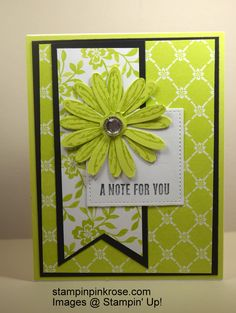 Stampin' Up! CAS Thinking of You card made with Daisy Delight stamp set and designed by Demo Pamela Sadler. #thinking ofyoucard #daisycard #cheerycard See more cards at stampinkrose.com #stampinkpinkrose #etsycardstrulyheart