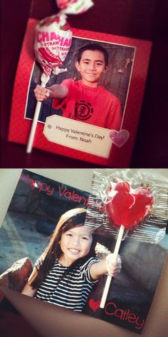 Valentine's Day Photo Card - Take a photo with the child's hand out as if he/she is holding a big lollipop. Add text/decoration and print. Cut a small slit in the photo and slide lollipop in. I did it for my son and my niece. :)  #Valentine