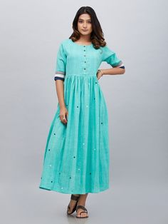 Buy Sea Green Khadi Cotton Gathered Dress online at Theloom