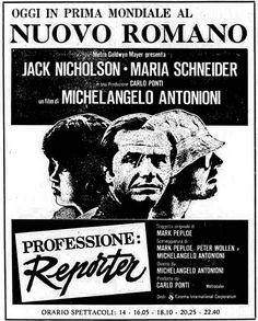 """""""Professione: reporter"""" (1975) di Michelangelo Antonioni, con Jack Nicholson e Maria Schneider. Italian release: February 28, 1975 #MoviePosters #JackNicholson #MichelangeloAntonioni"""