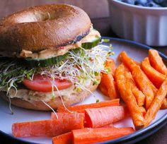 Double Hummus Sandwich with Sweet Potato Fries