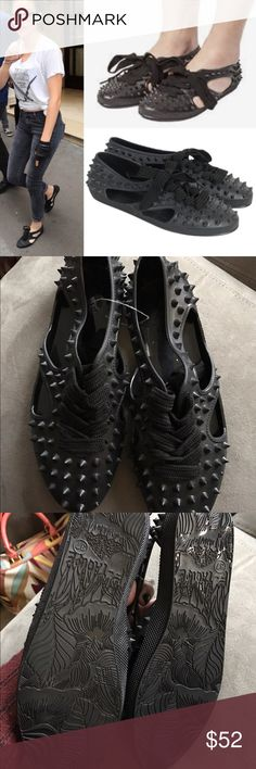New f-troupe hedgehog spiked bathing shoe cut out Sold at urban outfitters, seen on Kristen Stewart size 37 jelly spiked bathing shoes NO TRADES Urban Outfitters Shoes