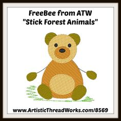 Free machine embroidery design from ArtisticThreadWorks.com Nancy Smith, Magnetic Bookmarks, Free Machine Embroidery Designs, Forest Animals, Baby Cats, Free Design, Winnie The Pooh, Applique, Kitty