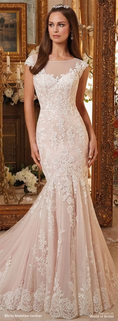 Vintage Embroidered Lace on Soft Net Gown with Scalloped Hemline