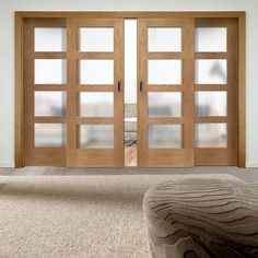 Easi-Slide OP1 Obscure Glazed Oak Shaker 4 Pane Sliding Door System in Four Size Widths