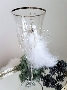 Excited to share the latest addition to my #etsy shop: Christmas tree glass crystal and pearl ornaments, Winter floral Swarovski and Preciosa decorations twigs with feathers, wedding favors decor #homedecor #christmas #tree #glass #decor #winter #ornaments #decorations http://etsy.me/2hLDsmq