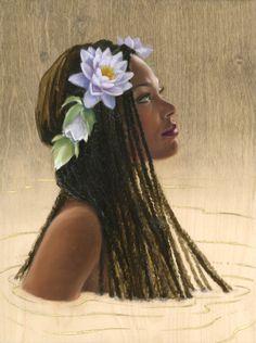 Water Nymph from the Goldfish Pond, Sara Golish Fantasy Art Women, Fantasy Art, Nymph, Female Art, Art, Mermaid Art, Portrait Art, Black Women Art, Water Nymphs