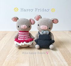 Aidie And Jellybean sur Instagram : 💛Happy Friday everyone💛Ta-da!The happy pig couple is done🐷💕🐷Will he adding them to my shop shortly🎁#aidieandjellybean #etsy #amigurumi…