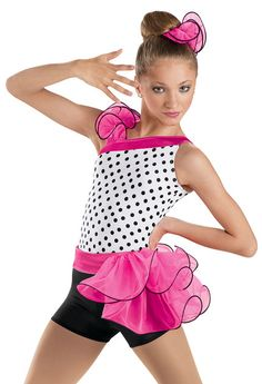 Polka Dot Bustle Biketard -Weissman Costumes