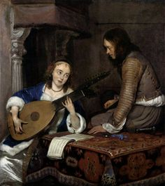 Woman Playing the Theorbo-Lute and a Cavalier - Gerard Terborch (1658) - Pinterest