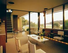 The living room of the Richard Neutra VDL house. See more, click on the pic.