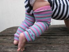 How to make baby leg warmers using a pair of knee high socks.
