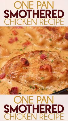 One Pan Smothered Chicken is a classic recipe of seared chicken that is easy to make in 30 minutes! Tender chicken is smothered in a rich and creamy gravy with bacon! dinner recipes with chicken One Pan Smothered Chicken Smothered Chicken Recipes, Baked Chicken Recipes, Crockpot Recipes, Recipe Chicken, Keto Recipes, Potato Recipes, Healthy Recipes, Simple Chicken Recipes, Chicken Tenderloin Recipes