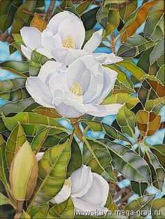 Белая магнолия - батик, картины с цветами. МегаГрад - авторская ручная работа