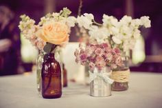 Love the idea of a few small arrangements as centerpieces
