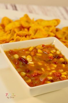 Santa Fe Soup recipe. Sever with corn chips and the kids will love it!