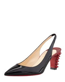 Christian Louboutin Lemer Patent Spiked-Heel Slingback Pump