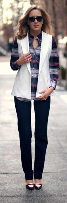 The Classy Cubicle: Burgundy and Blue + White Vest