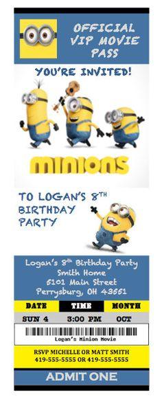 Minions Birthday Party Ticket Invitations by BeautifulDesignsByJN