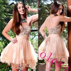Sweetheart Neckline Short Homecoming Dresses Shining Beaded Crystals Mini Cocktail Prom Party Gowns With Lace Up Back 2016 New
