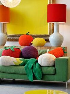 crochet vegetable pillows. How funky! I kinda like it. :)