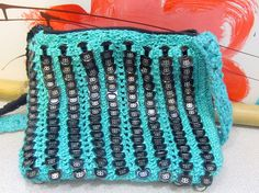 Black Energy Drink Can Tab Purse in Turquoise thread by cindycreativecrochet, via Flickr
