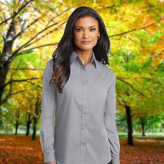 1f9530722b6de4 Buy Port Authority Ladies SuperPro Oxford Shirt at ClothingnApparel. Widest  range of work shirts for womens in various colors and sizes at cheap prices.