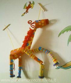 Tube crafts giraffe marionette
