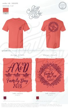 Alpha Xi Delta | AXiD | Family Day 2016 | Henna T-Shirt Design | Parents Weekend | Moms Weekend | Dads Weekend | South by Sea | Greek Tee Shirts | Greek Tank Tops | Custom Apparel Design | Custom Greek Apparel | Sorority Tee Shirts | Sorority Tanks | Sorority Shirt Designs