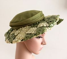 Vintage 50s  Straw Hat Silk Organza Pristine Tags 1950s Rare Gus Mayer Goodwood