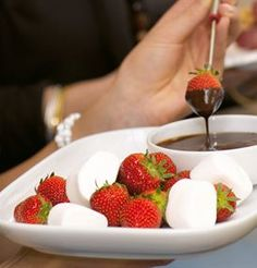 Strawberries and marshmallow fondu for two, please! :)