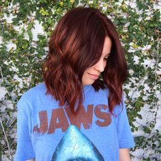 Auburn Hair Burning Hot Cinnamon Waves Reddish Brown Wavy Lob - Station Of Colored Hairs Fall Auburn Hair, Hair Color Auburn, Brown Hair Colors, Auburn Colors, Short Auburn Hair, Spring Hair Colors, Auburn Bob, Brown Auburn Hair, Auburn Ombre