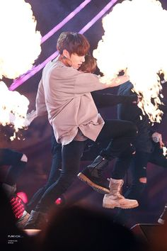 The stage is literally on fire! Get it, Kookie!