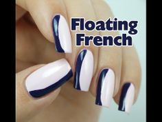 How to create 'Floating French' Nail Art Design Fun French Manicure, French Nail Art, French Manicures, Navy Blue Nails, Cute Nail Designs, Beautiful Nail Art, Nail Tutorials, Cute Nails, Swatch