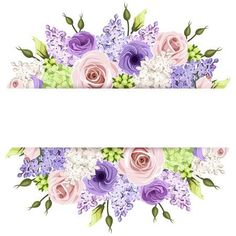 Background With Pink, Purple And White Roses And Lilac Flowers. Vector Stock Vector - Illustration of bloom, background: 53265917 Purple And White Flowers, Lilac Flowers, Vintage Flowers, White Roses, Pink Purple, Vintage Flower Backgrounds, Png Floral, Deco Floral, Borders And Frames