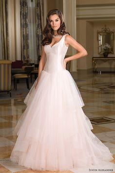 justin alexander bridal fall 2016 sleeveless straps vneck basque waist tulle ball gown wedding dress (8850) mv romantic