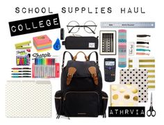 """""""school supplies haul"""" by athrvia ❤ liked on Polyvore featuring Burberry, Sugar Paper, Kate Spade, Herschel Supply Co., Parker, aNYthing, Paper Mate, Sharpie, Zwilling J.A. Henckels and Post-It"""