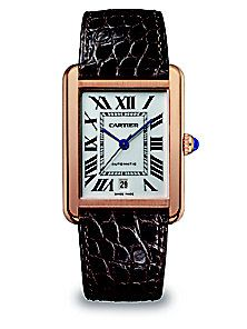 Cartier - Tank Solo Automatic Extra-Large 18K Pink Gold & Alligator Strap Watch Cartier Watches Women, Iwc Watches, Cartier Tank Solo, Tank Watch, Square Watch, Luxury Jewelry, Luxury Watches, Pink And Gold, Rose Gold