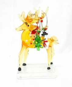 NEW Hand Blown Glass Reindeer Christmas Figurine with 4 Holiday Wine Charms