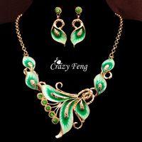 Mujer 18 k amarillo oro lleno austríaco cristal esmalte flores 6 colores juego de joyas cadena collar pendientes conjuntos entrega gratuita
