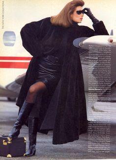 US Vogue September 1985 Fast-Track Furs...Nonstop Style Photo Steven Meisel  Model Rosemary McGrotha  Hair John Sahag  Makeup George Newell