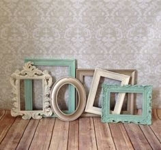 Gorgeous! Perfect for our new living room. Distressed PICTURE FRAMES  Set of 6  seafoam  by VintageEvents, $89.00