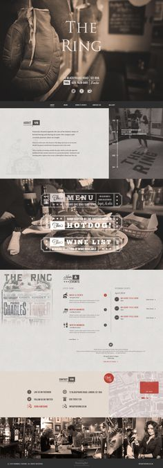Unique Web Design, The Ring Pub London Website Layout, Web Layout, Layout Design, Website Ideas, Vintage Web Design, Restaurant Website, Web Ui Design, Graphic Design, Ui Web