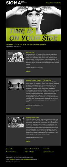 SIGMA Human Performance email newsletter design