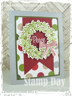 """[By]: Jessica Kerr, Stamp Day Designs [Stamp Sets]: Peaceful Wreath [Ink]: Old Olive, Cherry Cobbler, Versamark [Paper]: Smoky Slate, Cherry Cobbler, Old Olive, Merry Moments DSP Stack[Accessories]: Blender Pen, Polka Dot Embossing Folder, Stylish Stripes Embossing Folder, 2"""" Circle Punch, White Embossing Powder, Banners Framelits [Stampin' Up! Catalog(s)]: 2015 Holiday  """"Handmade for the Holidays"""", 2015-2016 Annual """"Share the Fun"""""""