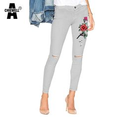 Achiewell American Apparel Fashion Women Jeans Knee Ripped White 3D Floral embroidery Ripped Women Pencil Jeans *** AliExpress Affiliate's Pin. Details on product can be viewed by clicking the VISIT button
