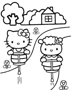 Hello Kitty Was Playing In The Garden Coloring Page - hello kitty Coloring Pages : KidsDrawing – Free Coloring Pages Online