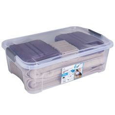 Wilko Modular Storage Underbed Box and Lid Image 1 Storage Boxes With Lids, Plastic Box Storage, Underbed Box, Storing Clothes, Uni Room, Stationery Craft, Modular Storage, Under Bed Storage, Box With Lid